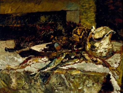 adolphe montecelli  French, 1824 - 1886, Still Life with sardines and sea urchins, 1880-2, oil on wood panel,81,28 x 94,61cm, Dallas Art Museum, Tx