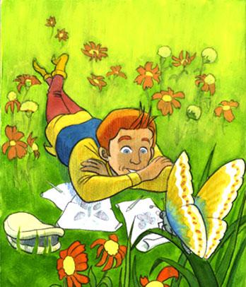 borboleta e menino