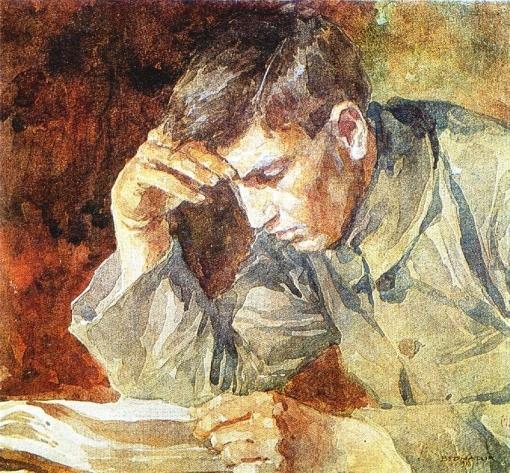 Ignat Bednarik (Rumênia) 1882-1963 Hombre joven leyendo-