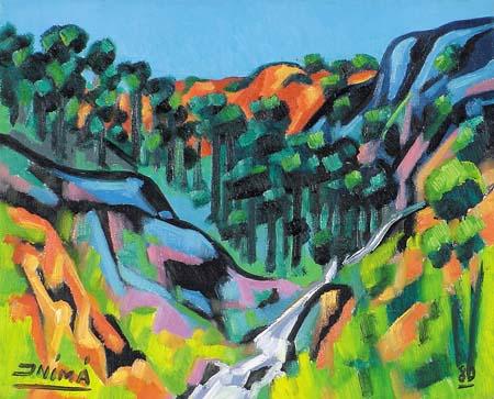 Inimá de Paula (1918-1999) Paisagem ESost - ass. cie - 1980 - 40x50 cm