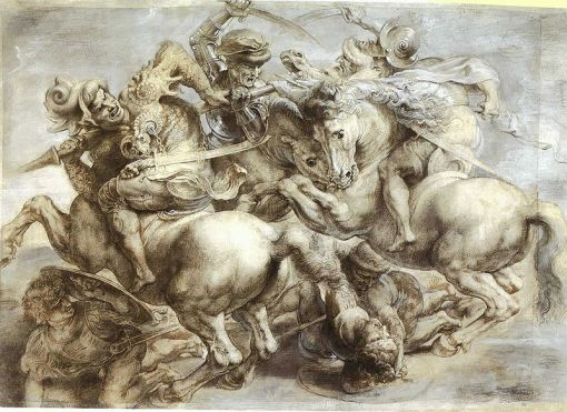 Leonardo, copia de Peter Paul Rubens, Arezzo_anghiari_Batalha