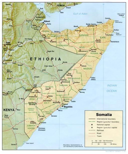 somalia, mapa, 1992