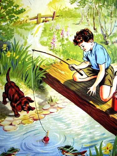pescando-no-riacho-pesca-menino-cachorro