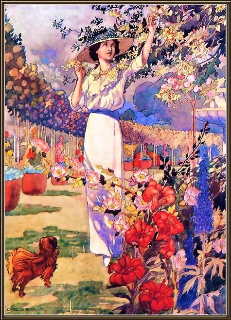 imagens jardim florido:Jardim florido, ilustração de Charles Robinson.