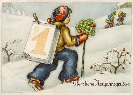 ano novo, 1º de janeiro, postal de Margret Boriss
