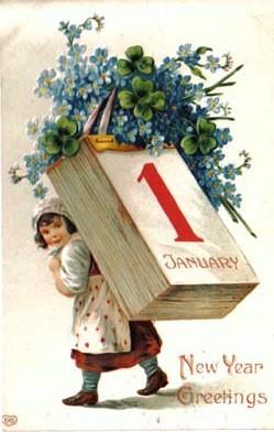 Ano Novo menina cartão postal, ano novo