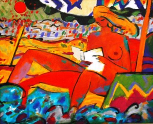 Anoro, Manuel, (Espanha, 1943)  Mulher na Praia, 1992, oleo e acrílica s. tela, 79 x 99 cm