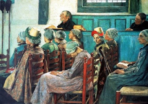 Gari Melchers, O sermão, 1886,  ost, [EUA, 1860-1932]