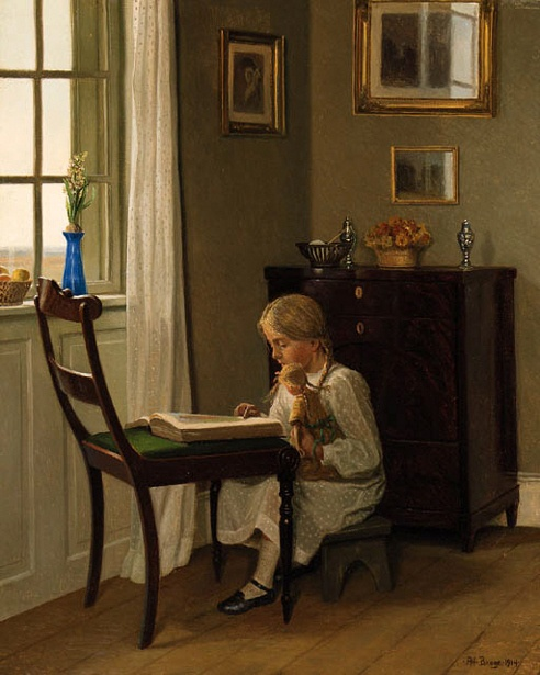 Karl Harald Alfred Broge( 1870-1955, Danish)A Young Girl Seated Reading Before The Window