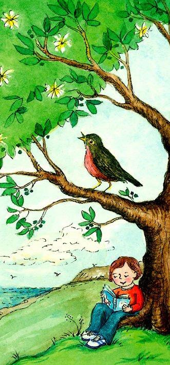 sozinho, lendo, árvore, passarinho, primavera, claire louise Milne