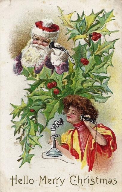 telefone antigo cartão postal com jovem, azevinho e papai noel , 1912