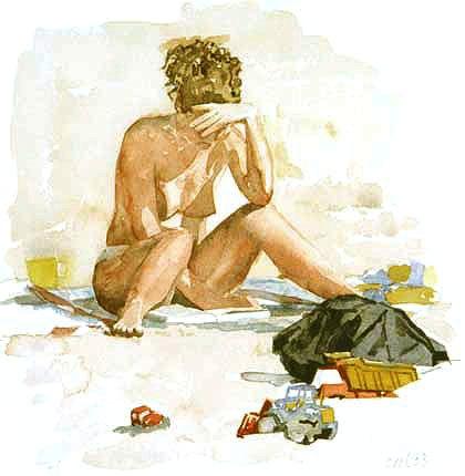 Albert-Jan Cool leitora na praia