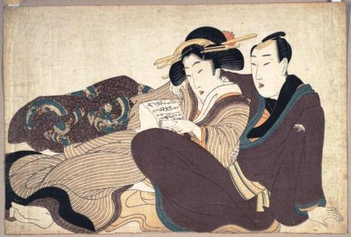Kikugawa Eizan (1787-1867), Reclining couple reading a love letter, ca. 1804-1818. Color woodblock print, Princeton EDU