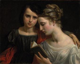 Marie Françoise Caroline Vallée (ativa Paris, sec XIX)Lendo Paulo e Virginia, ost,56 x 69 cm