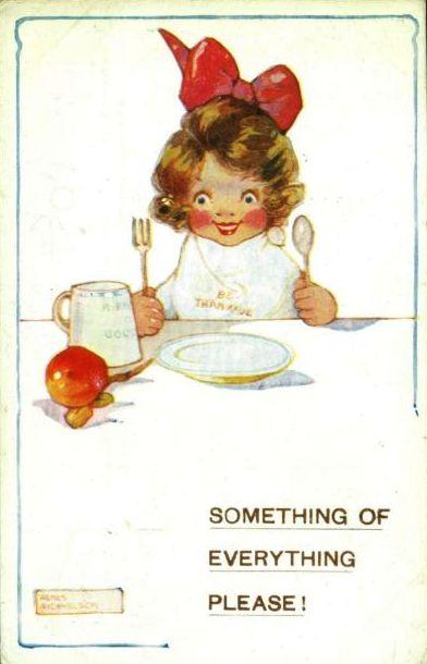 Menina pronta para come, ilustração de agnes richardson, cartão postal