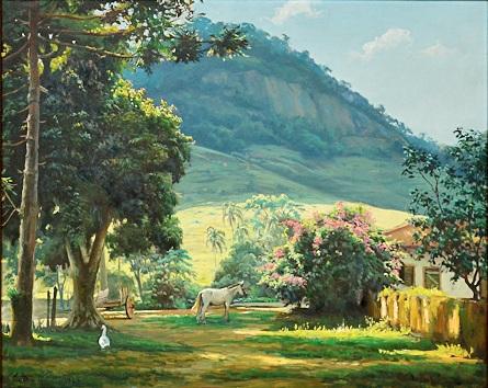 EDGAR WALTER (1917-1994)Paisagem com casa de fazenda e animais no interior de Minas,ost,65 X 82. Assinado e datado (1969)