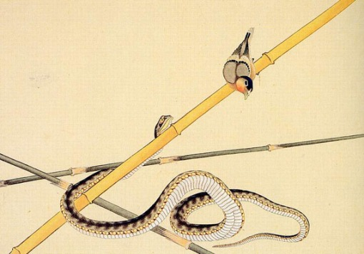 hokusai-katsushika--schlange-und-voeglein-Katsushika Hokusai - Snake and bird - Cobra e pássaro
