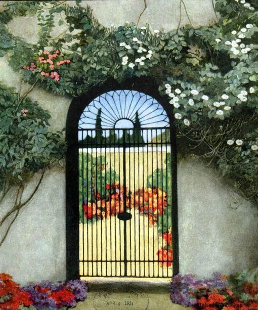 jardim, portão, Ethel Blains ,House and Garden 1921-04