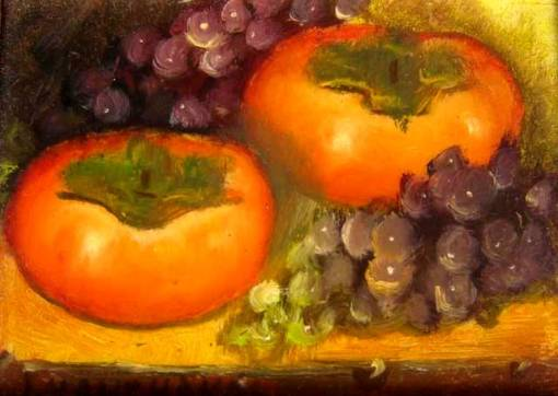 Jean Xanthakos, Caquis e uvas, osm, 9x12