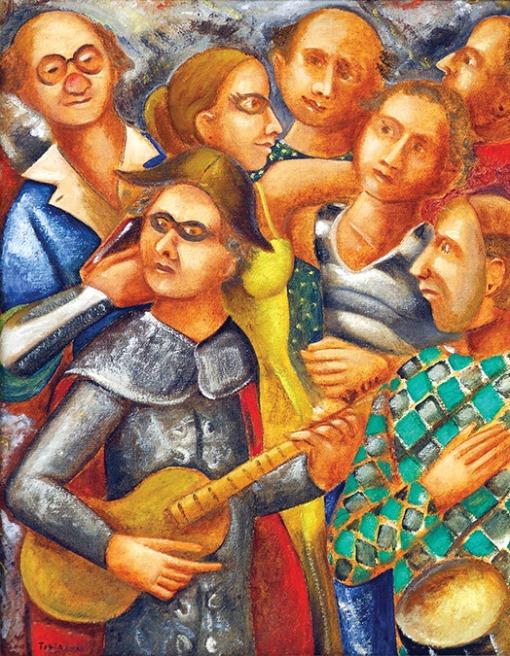 Tobias Marcier (1948-1982) Os amigos foliões, ost, 36 x 28