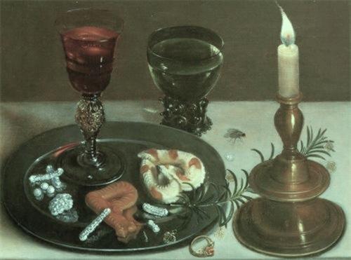 Clara Peeters 1594 - 1589- 1657 nature morte au verre vénitien et à la chandelle 1607