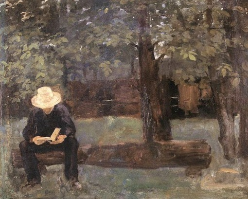 Károly Ferenczy, Man Sitting on a Log (1895, Hungarian National Gallery, 1895)