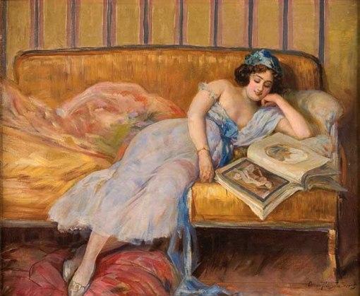 Oscar Pereira da Silva,Moça lendo no sofá, ost, 1925, 14,5 x 53 cm.