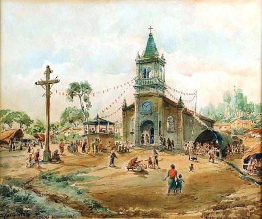 Bonaventura Cariolato (Itália 1894-Brasil, 1989) -Festa na aldeia,aquarela ,1965,Bairro da Boa Vista em Franca, 33 x 40 cm.