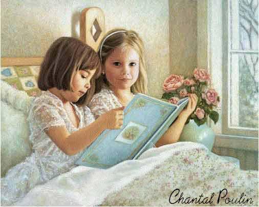 chantal poulin, (Canada, contemp) suas meninas lendo,