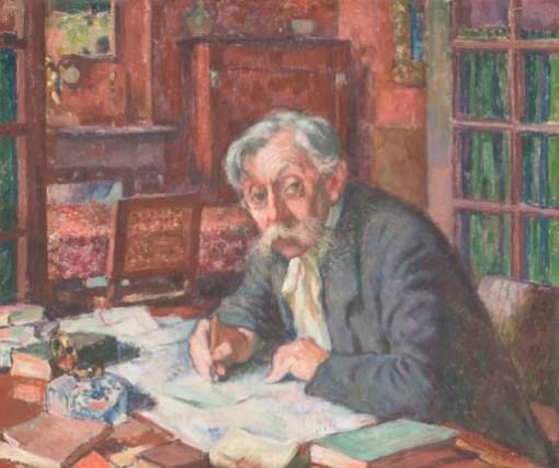 Emile Verhaeren écrivant
