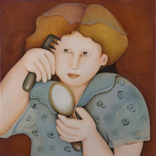 Espelho, Inha Bastos (Brasil, 1949) Menina do espelho, 2008, ost. 50x50cm