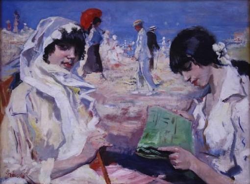 Gerardus Hendrik Grauss Elegant Ladies and Men at the Beach 1926