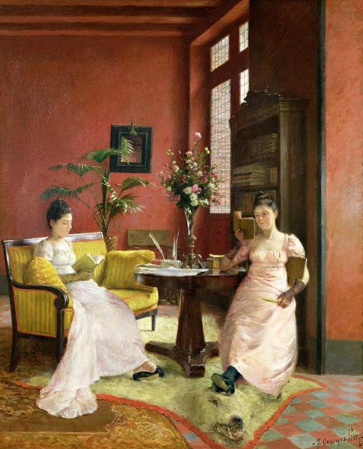 jean-georges-ferry(França, 1851-1926) dua mulheres lendo em casa