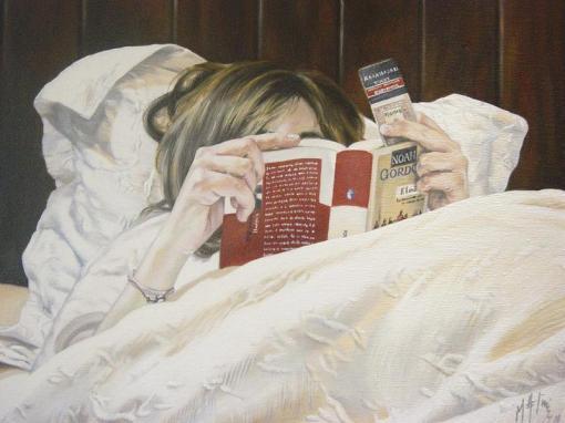 Marta Astrain (Espanha, contemp) Marta lendo na cama