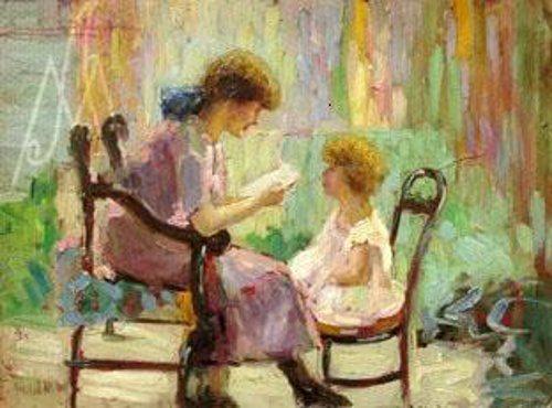 Georgina de Albuquerque (1885-1962). Momento de leitura, oscartão, 24 x 16cm 2