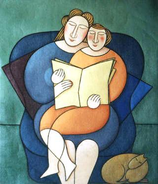 Jacoba (contemporânea) Espanha Madre y Hija Leyendo