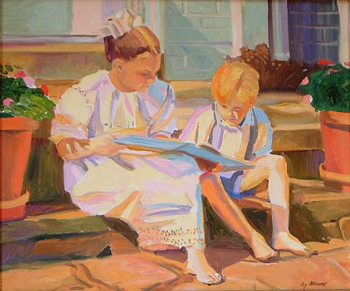 Joy McGinnis (EUA) reading-lesson, oleo