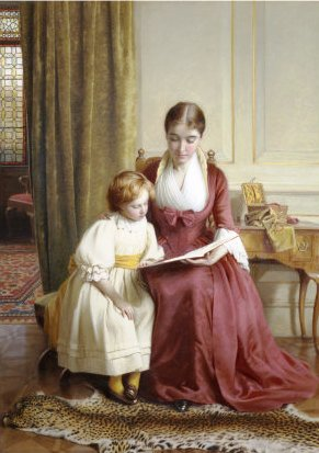Richard Crafton Green, (Inglaterra, 1869-1890) The reading lesson,1890,  45 x 32cm,
