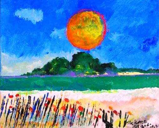 Aldemir Martins (1922-2006) - Paisagem com sol amarelo - Acrílica sobre tela - 18,5 x 22,5 cm - 2000