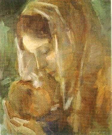 Aurélio D´Alincourt (1919-1990) carinho maternal, ose, 46 x 38