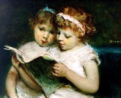 Bernardus Johannes Blommers (1845-1914)Twee lezende zusjes
