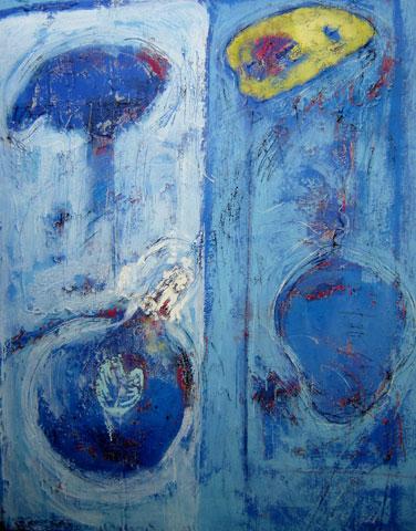 Newman Shutze (Brasil, 1960)Superfície com azul e branco, Acrílico sobre tela140 x 110 cm
