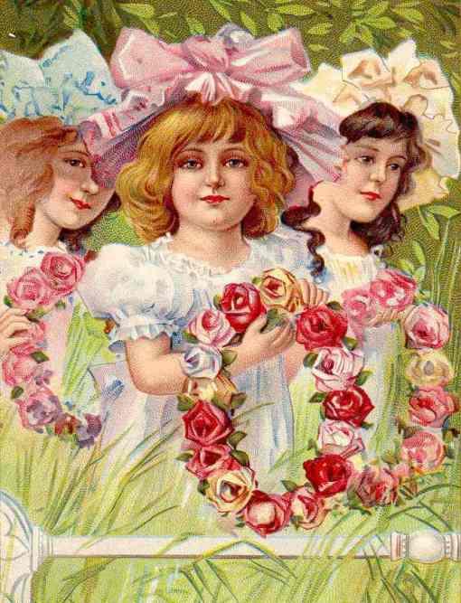 rosas, dias das rosas, coroa de flores, meninas, 1890, cartão postal