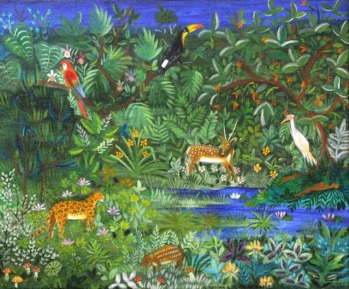 ROSINA BECKER DO VALLE (1914 - 2000)Floresta com animais, o.s.t. - 60 x 73. Assinado cie e datado 1966
