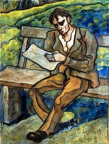 Scheiber_Hugo-(Hungria, 1873-1950)Lendo as notícias no banco,guache, coleção particular
