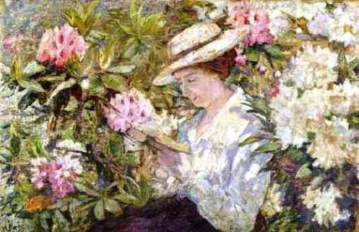 Anna_Boch (Belgica,1848-1936)_-_Femme_lisant_dans_un_massif_de_Rhododendrons