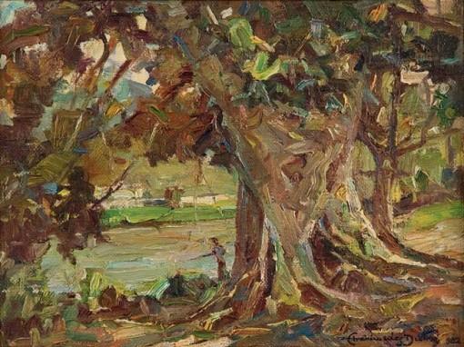 Archimedes Dutra,Pescador na beira do rio,1932,ost, 27 x 35 cm