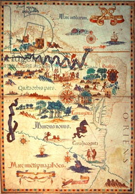Add 5415A f.23v-24 Atlas by Diego Homem of South America, showing Indians in their settlements, Spanish Expeditionary Force Camp and Men in Armour, c.1558