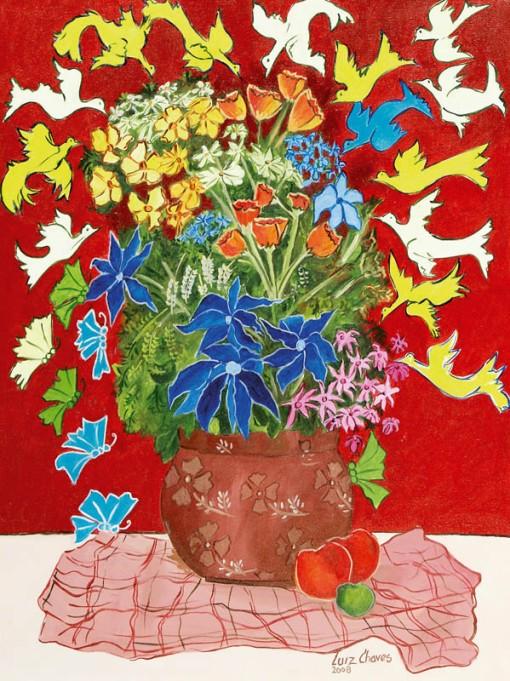 Luiz Chaves, Flores e pássaros, ast, 80 x 60 cm