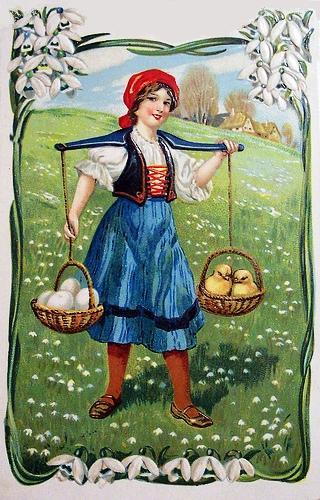 menina com pintinhos nas cestas